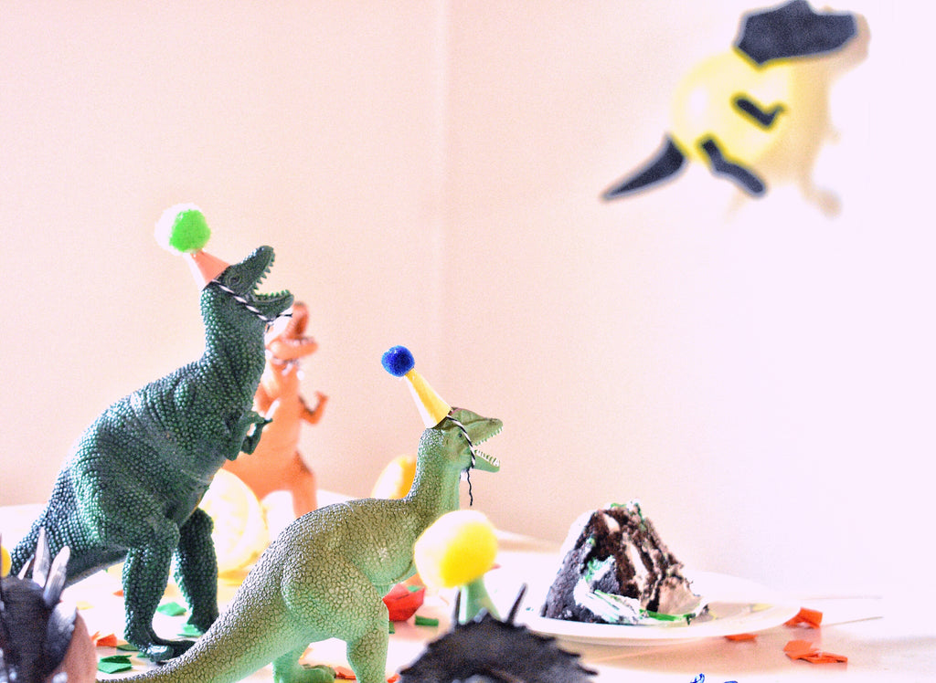 Plastic dinosaurs at a Dinosaur Birthday Party