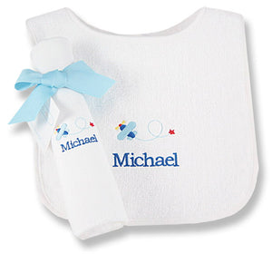 Personalized Blue Yonder Bib & Burp Cloth Set