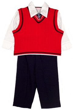 4-Piece Toddler Red Vest Suit Set