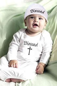 """Blessed"" Angel Baby Gown & Cap"