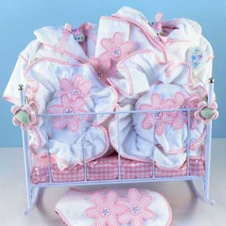 Baby Girl Twins Cradle Gift Basket