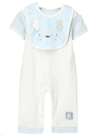 Blue Bunny Playsuit with Bib Set