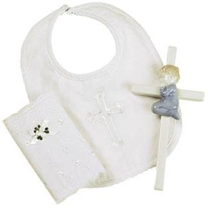 Boys Christening Bible, Bib & Cross Gift Set