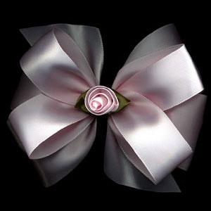 Custom Boutique Satin Rose Hair Bow