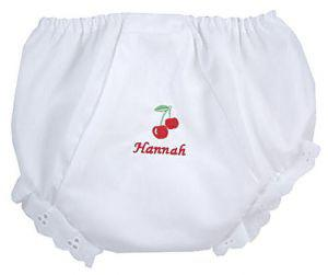 "Embroidered Cherry ""Fancy Pants"" Diaper Cover"