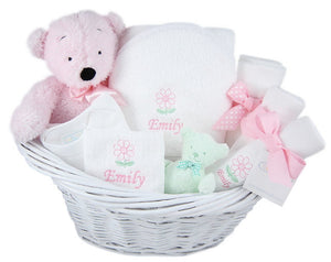 Personalized Deluxe Newborn Girl Gift Baskets