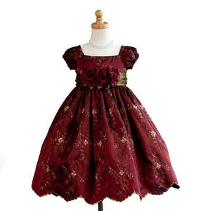 Girls Burgundy Floral Party Dress
