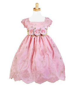 Girls Pink Flower Party Dress