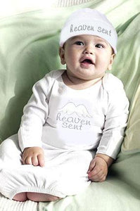 """Heaven Sent"" Angel Baby Gown & Cap"