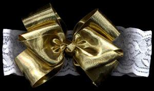 Large Gold Bow Lace Headband