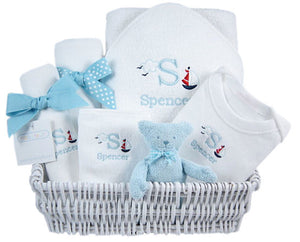 Little Sailor - Personalized Baby Luxury Layette Gift Basket