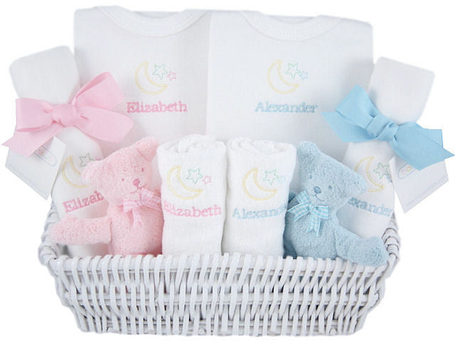 PERSONALIZED LUXURY LAYETTE TWIN BABY BASKET