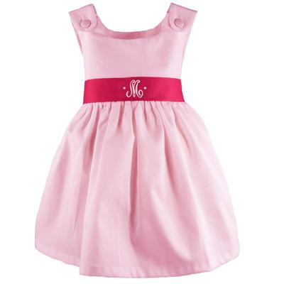 Monogrammed Pique Dress Hot Pink Sash