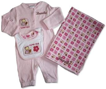 Personalized Three-Piece Love Bug Set Pink