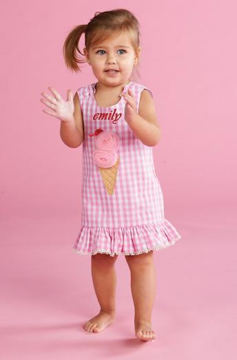 Personalized Ice Cream Pom Pom Dress