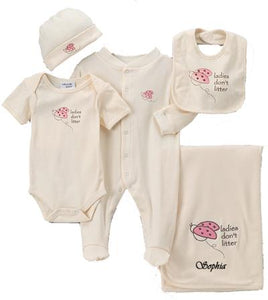 Personalized Ladybug Organic Layette Set