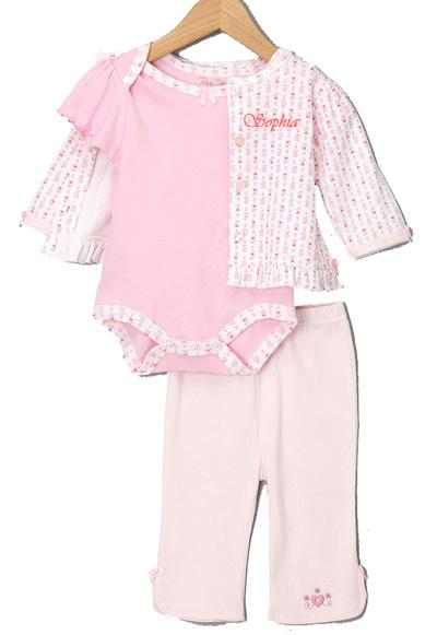 Personalized Pink Three-Piece Set