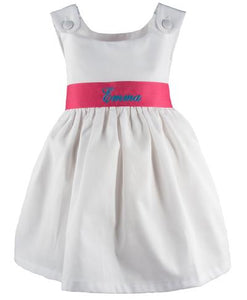 Personalized Pique Dress-Hot Pink Sash