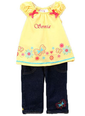 Personalized Yellow Butterfly & Denim Pant