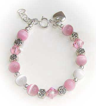 Pink & White Rose Crystal Bracelet