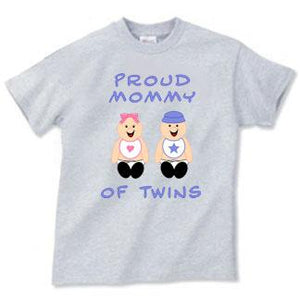 Proud Mommy Of Twins Adult Tee Shirt