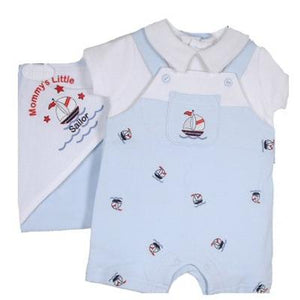 Sail Boat Preemie Shortall with Hooded Towel