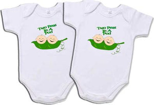 "Set Of 2 ""Two Peas In A Pod"" Creepers For Twins"