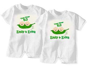 "Set of 2: ""Two Peas In A Pod"" Rompers"