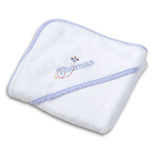 Boy's Personalized Gingham Hooded Towel