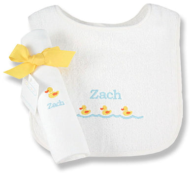 Personalized Just Ducky Bib & Burp Cloth Set