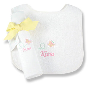 Personalized Baby Butterfly Bib & Burp Cloth Set