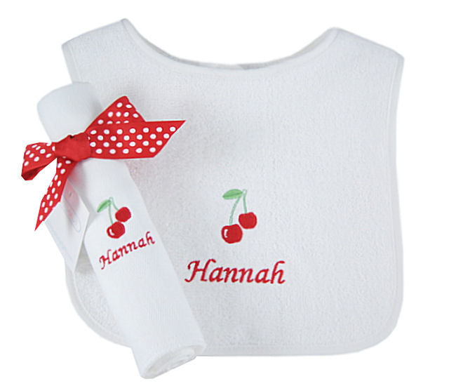 Personalized Sweet Cherry Bib & Burp Cloth Set
