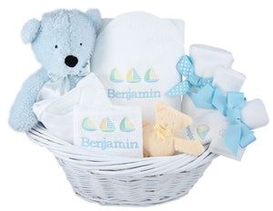 Personalized Deluxe Newborn Boy Gift Baskets
