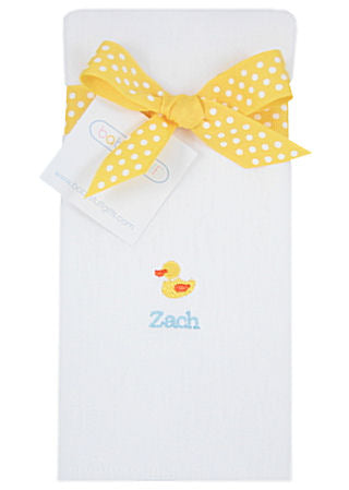 Personalized Just Ducky Baby Burp Cloth