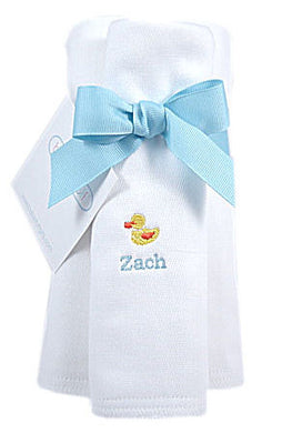 Personalized Just Ducky Burp Cloths - 3 PACK