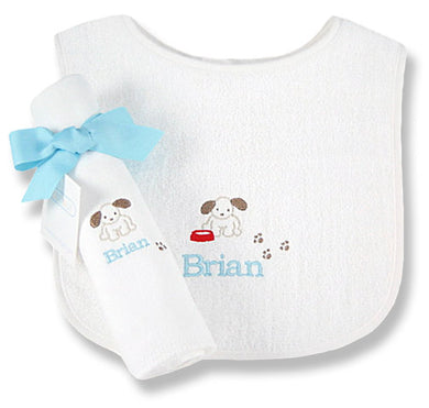 Personalized Little Pup Bib & Burp Cloth Set