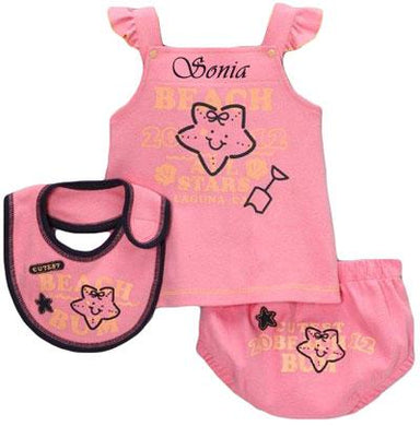 Personalized Pink Dress with Bib Set