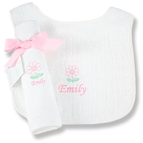 Personalized Dainty Daisy Bib & Burp Cloth Set