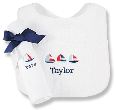 Personalized Little Sailor Bib & Burp Cloth Set