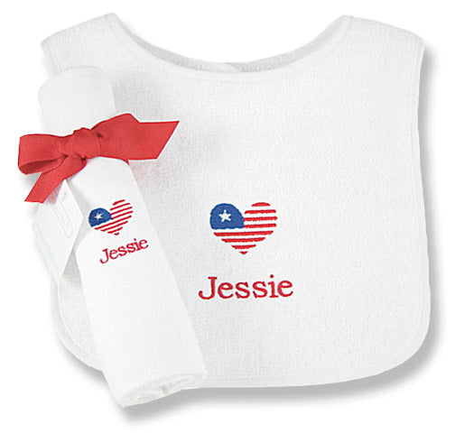 Personalized Petite Patriot Bib & Burp Cloth Set