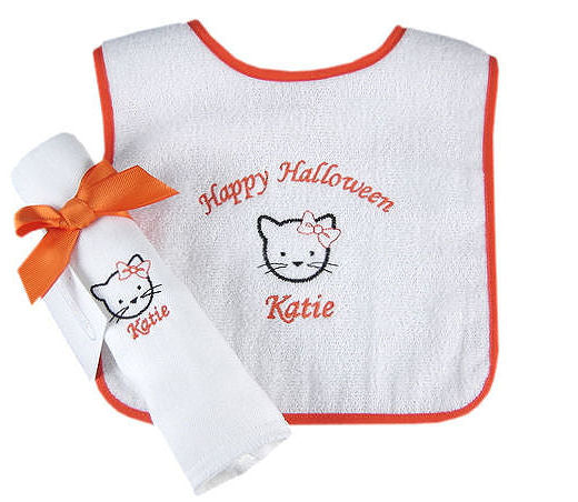 Personalized Halloween Kitty Kat Bib & Burp Cloth Set