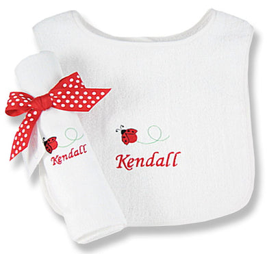 Personalized Lucky Ladybug Bib & Burp Cloth Set