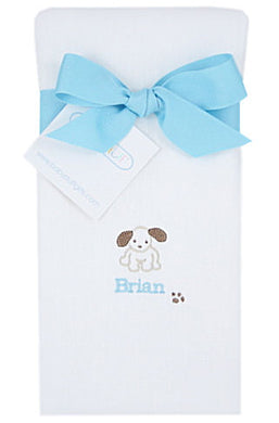 Personalized Little Pup Baby Burp Cloth