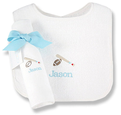 Personalized Rookie League Bib & Burp Cloth Set