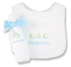 Personalized Pastel Sailor Bib & Burp Cloth Set