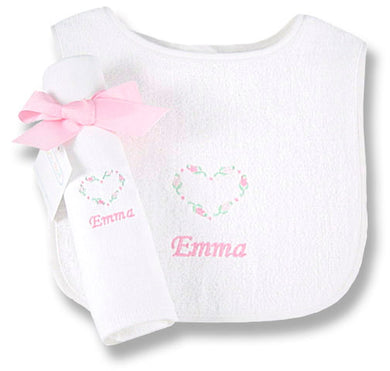 Girls' Personalized Bib & Burp Cloth Set