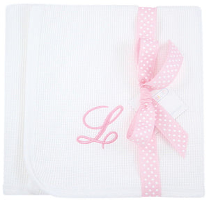 Personalized Initial Waffle Knit Receiving Blanket