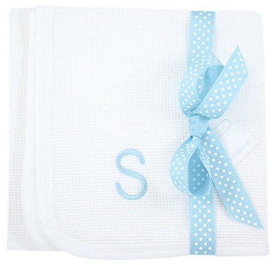 Monogrammed Initial Waffle Knit Receiving Blanket