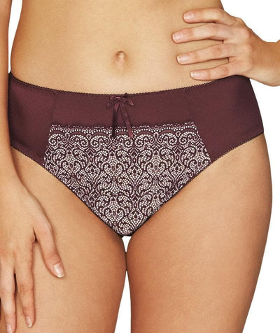 Fayreform Delicate Lace High Cut Brief - Windsor Wine/Pink Champagne Knickers L