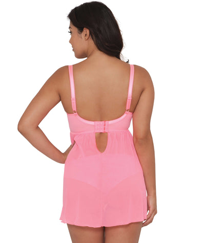 "Curvy Kate Can Can Longline Babydoll - Flamingo ""Back"""